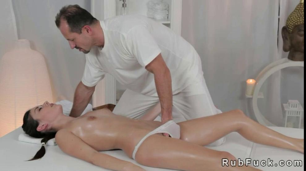 Brunette on massage table gets fucked Hot Bum Brunette Gets Oiled And Fucked On Massage Table Porn Videos